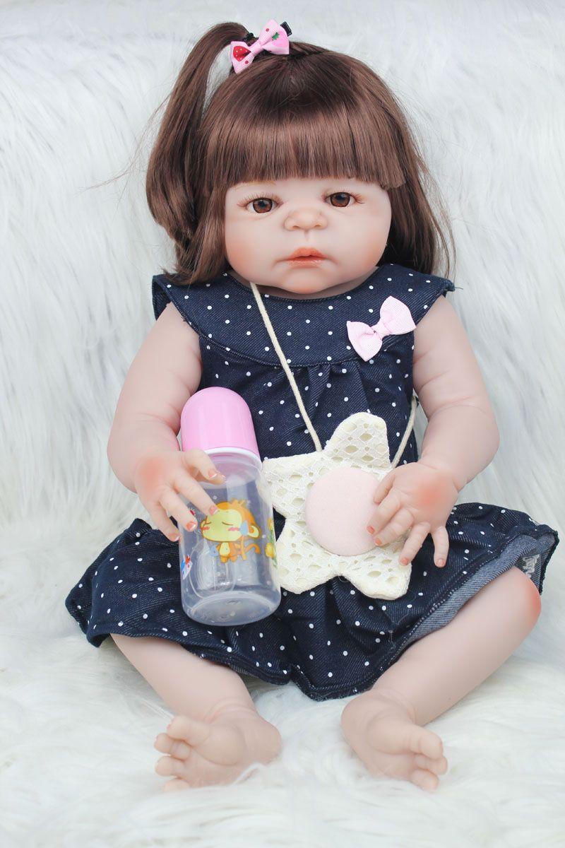 55cm Full Body Silicone Reborn Girl Baby Doll Toys 22inch Newborn Princess Toddler Babies Dolls Bathe Toy Play House Toy Doll