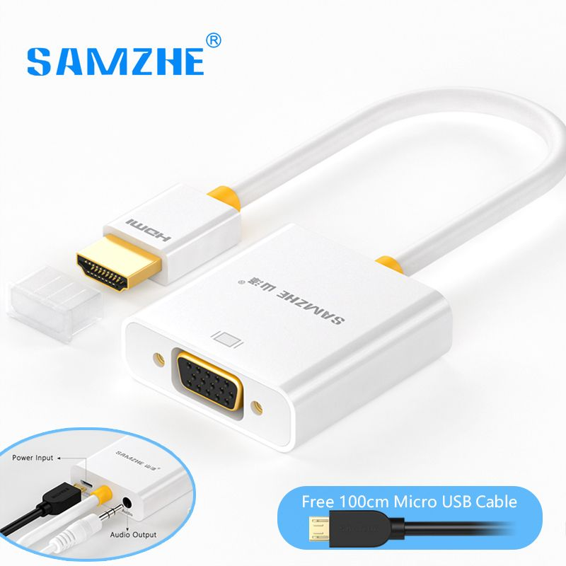 SAMZHE HDMI to VGA Adapter Converter 1080P Audio and Video Cable with Power Supply and Audio Ouput for Monitor PS3 PS4 XBOX