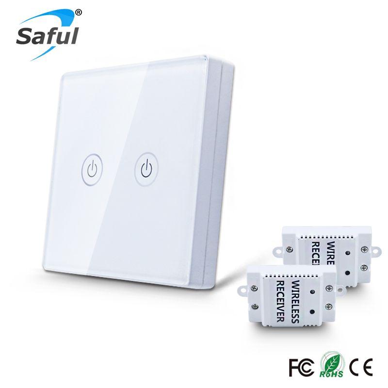 Saful Sans Fil Télécommande Interrupteur 2 Gang2 Voie Tactile Interrupteur Mural 433 MHz Relais DC 110 V-240 V Contrôleur de Commutateur Pour La Maison