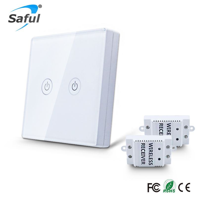 Saful Wall Light Touch Switch 2 gang 2 Way Wireless Remote Control Touch Switch Power for Light ,Crystal Glass Panel wall switch