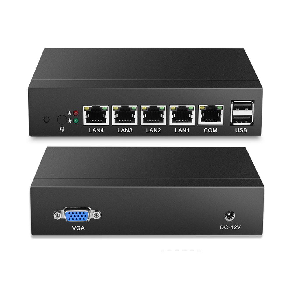 Fanless Mini PC Quad-Core Celeron J1900 J1800 4 * Gigabit Ethernet LAN Routeur Pare-Feu Mini Ordinateur De Bureau Windows 10/8/7 4-RJ45