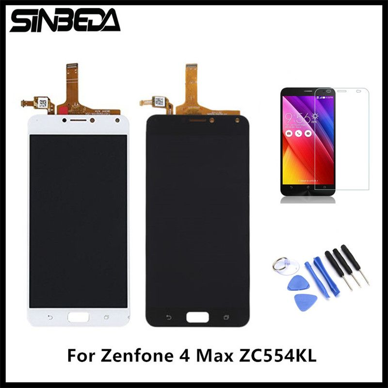 Sinbeda For Asus Zenfone 4 Max ZC554KL LCD Display Touch Screen Digitizer Assembly For Zenfone 4 Max ZC554KL LCD+Tempered Glass