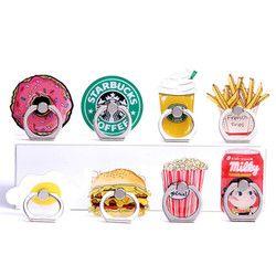 Universal del anillo de dedo del metal del teléfono móvil del estallido del zócalo Funny chips café hamburguesas patrón para iPhone