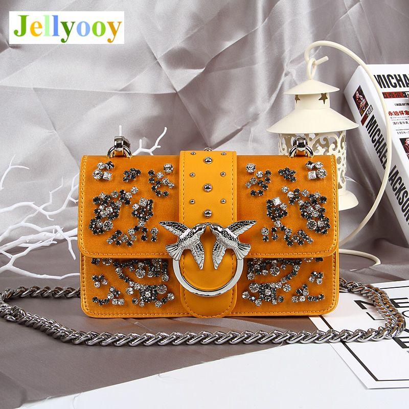 Luxus Designer Dame Swallow Schloss Umhängetasche Berühmte Marke Genuine Handtasche Diamant Nieten Kette Schulter Tasche Bacchus Tasche