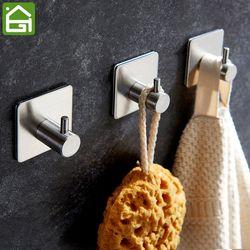 3 M etiqueta adhesiva Acero inoxidable ganchos de pared puerta ropa sombrero hanger cocina baño inoxidable toalla ganchos