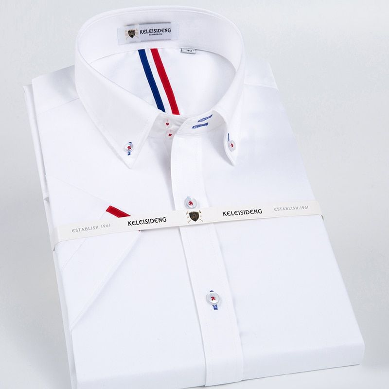 Men's Short Sleeve Solid Point Collar Dress Shirt Inner Striped 100% Pure Cotton Male White Business Slim-fit Button-down Shirts