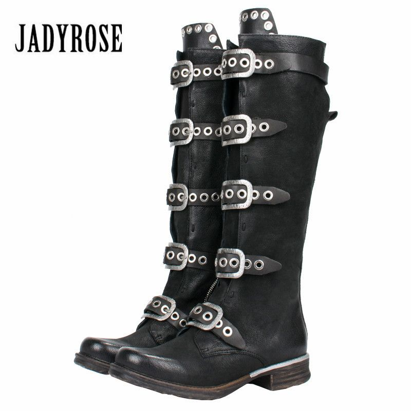 Jady Rose Punk Style Black Women Knee High Boots Genuine Leather Belt Straps High Boots Female Platform Rubber Flat Martin Boot