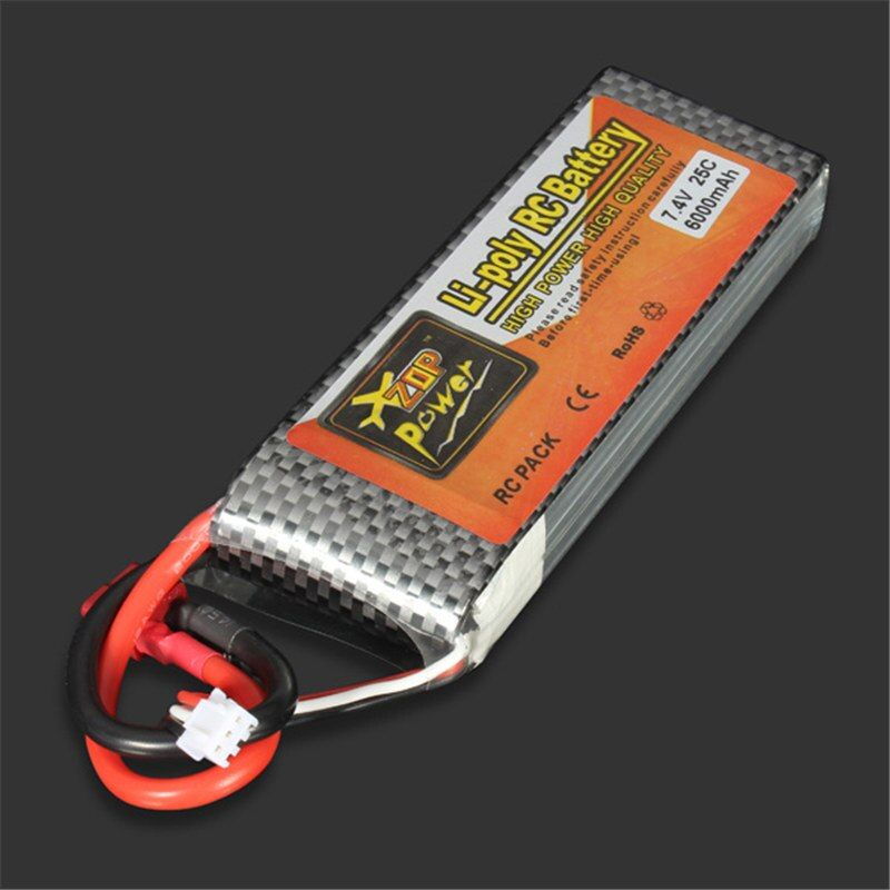 ZOP Power LiPo Battery 7.4V 6000MAH 25C T Plug For RC Quadcopter Drone Helicopter Car Airplane