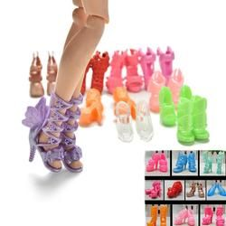 Wholesale 2/10/12pairs Color Random Fashion Fixed Styles Shoes Bandage Bow High Heel Sandals for   Dolls Accessories Toy