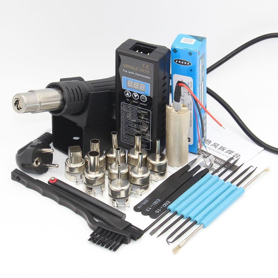 YIHUA 8858 PLUG Portable Bga À Souder Gare Soufflerie D'air Chaud Heat Gun + outils De Soudage