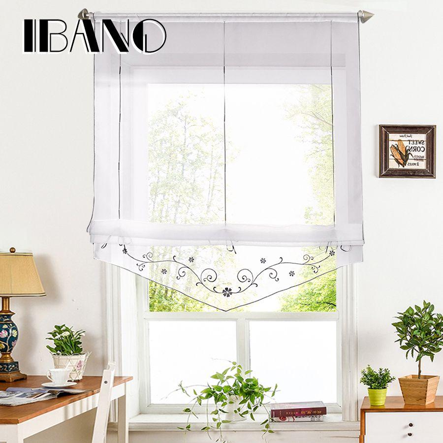 Rideau romain brodé Floral fenêtre transparente rideau pour cuisine salon Voile panneau de criblage 1 PCS/Lot avec des ceintures de ruban
