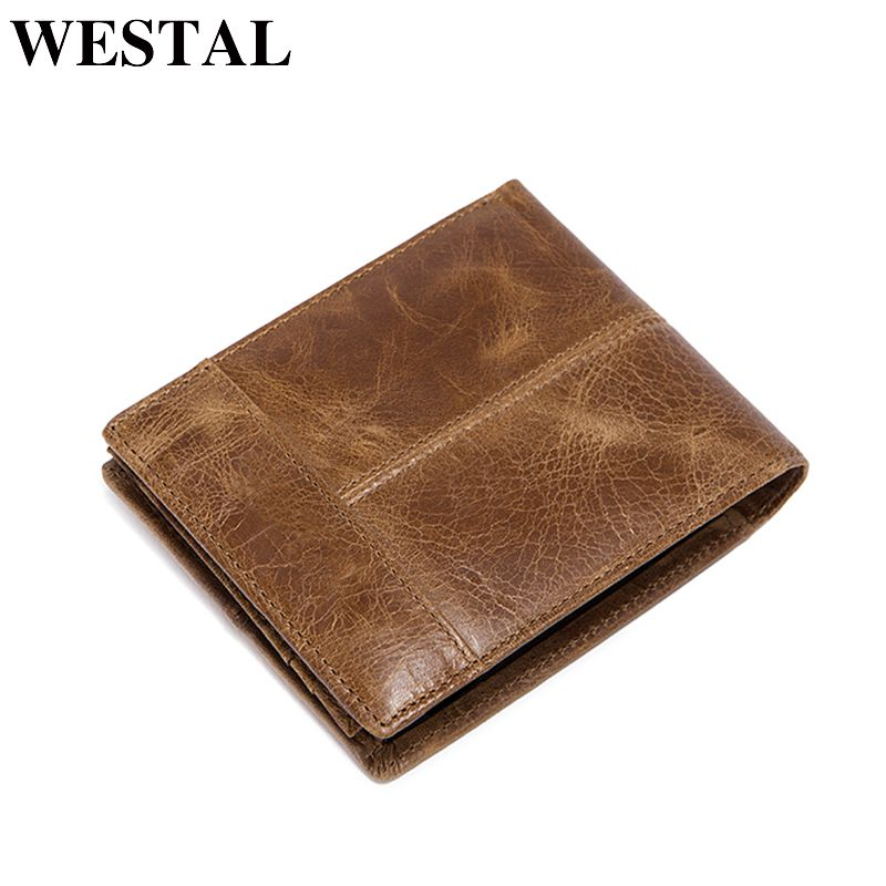 WESTAL Fashion Genuine Leather Short Men Man Wallet Small Purse Male Clutch Leather Men Wallets New Card Holder 8064
