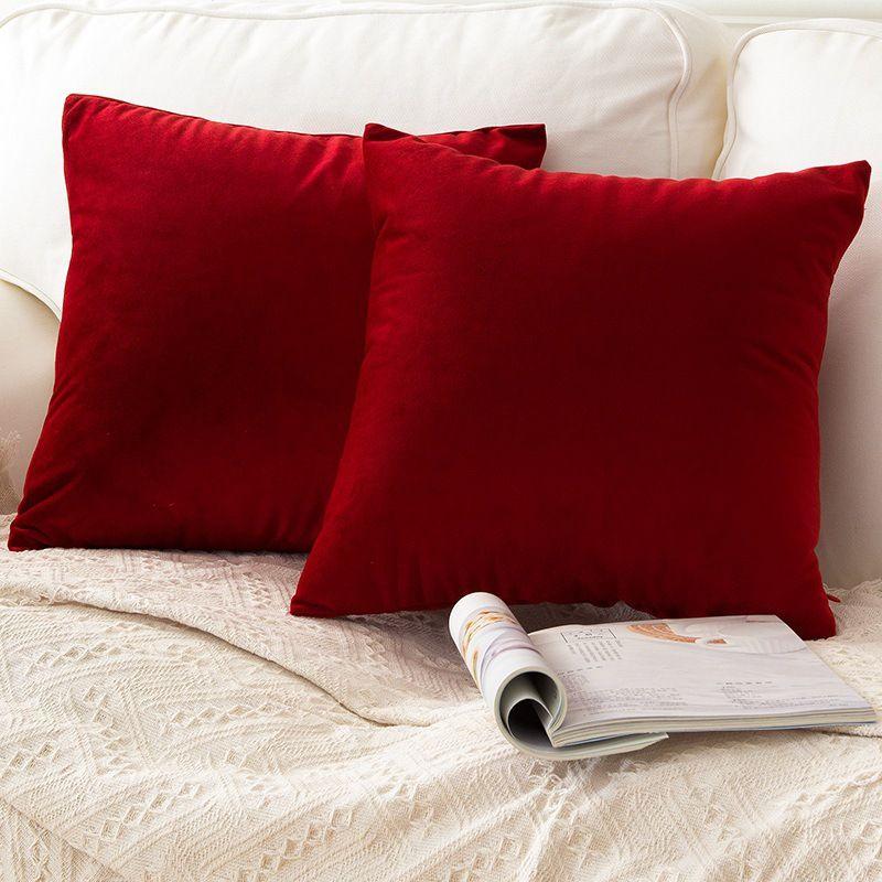 1 pc solide oreiller couvre doux velours rouge housse de coussin maison décorative pour canapé-lit chaise 45x45 40x40 30x50 cm housse de coussin