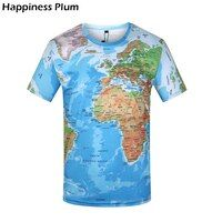 KYKU marca 3D Camiseta Hombre mundo mapa camiseta divertida camisetas hombre 2017 verano manga corta Anime Tops Moda hombre ropa