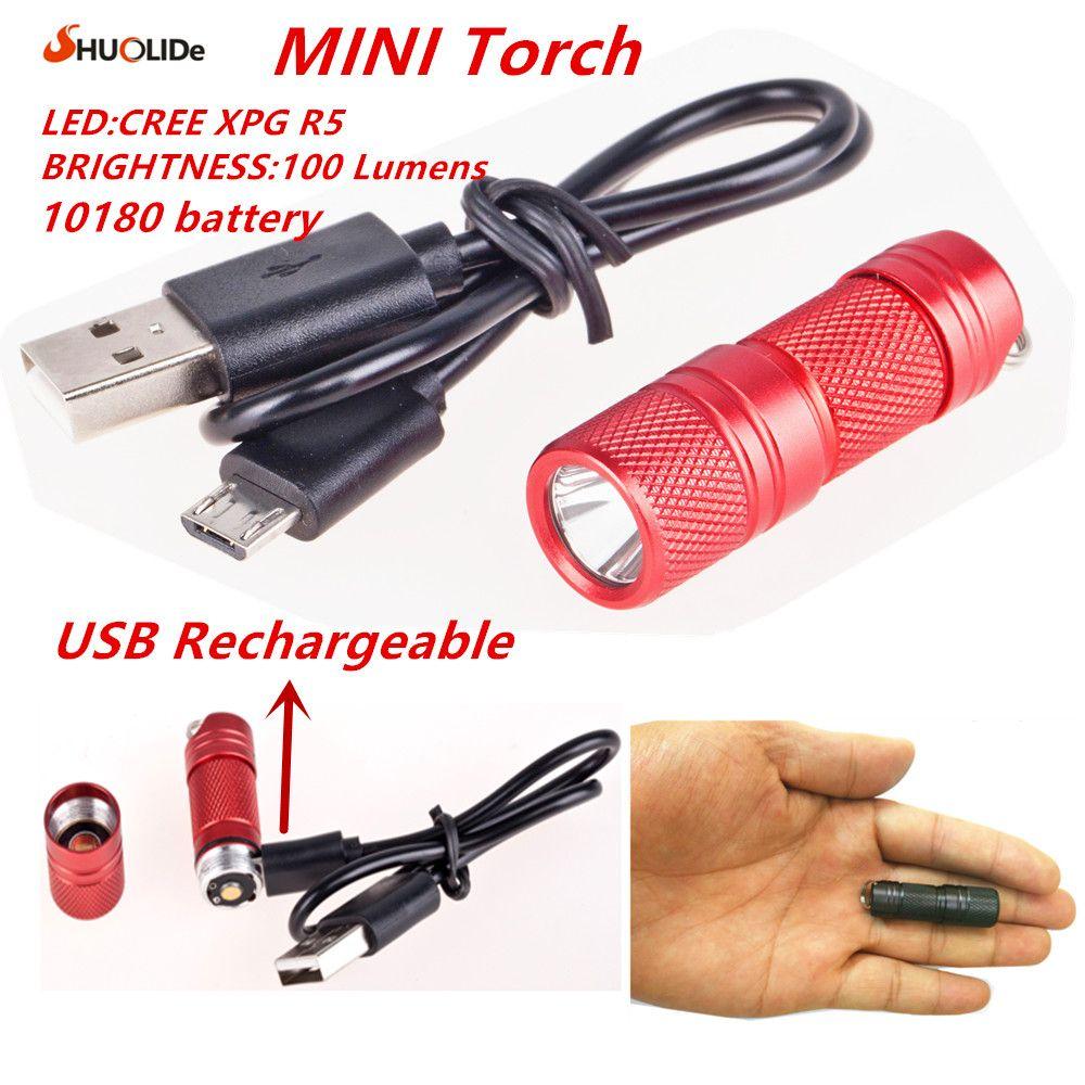 USB Rechargeable portable étanche En Aluminium Léger Alliage super Mini lampe de Poche CREE XPG R5 Led lampe de Poche Torche Led keychain