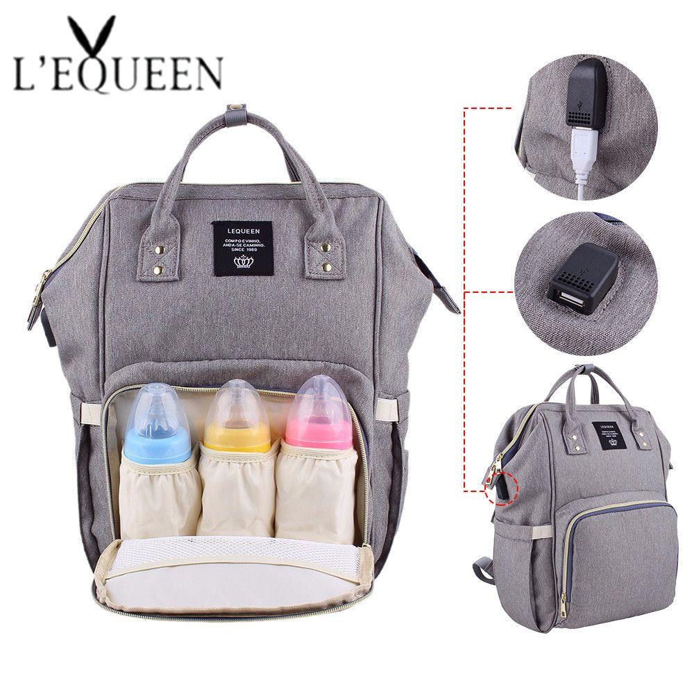 Lequeen USB sacs à couches grand sac à couches mise à niveau mode voyage sac à dos imperméable sac de maternité sacs momie avec 2 pièces crochet