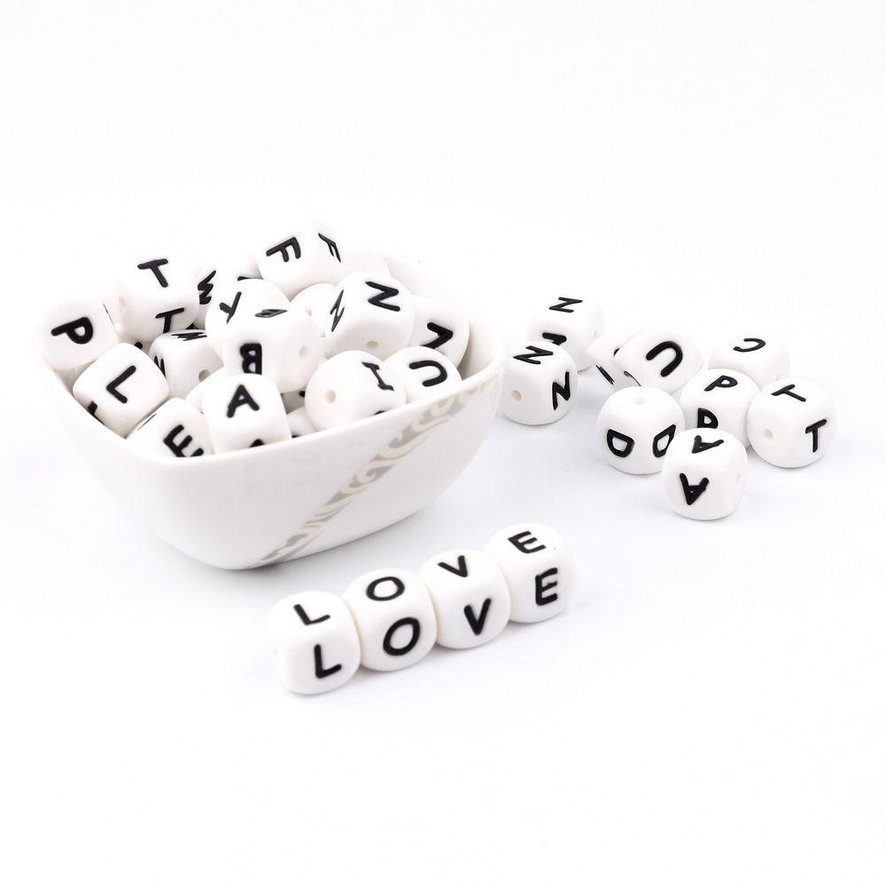 300-1000 stück Alphabet Brief Silikon Baby Zahnen Perlen Personalisierte Name auf Schnuller Kette Kauen Perlen für Zahnen Halskette