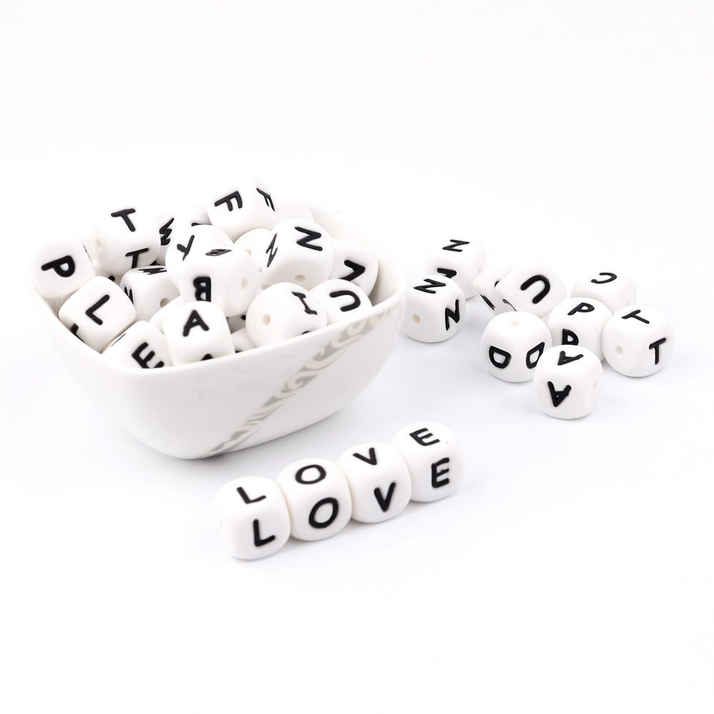 300-1000pc Alphabet Letter Silicone Baby Teething Beads Personalized Name on Pacifier Chain Chewing Beads for Teething Necklace