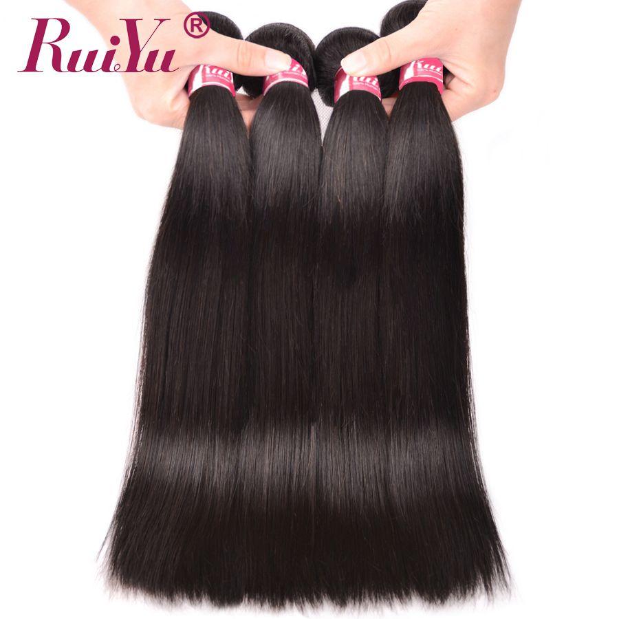RUIYU Cheveux Raides Bundles Brésiliens Cheveux Weave Bundles Cheveux Humains 1/3/4 Bundles Naturel Couleur Non Remy cheveux Extension 10
