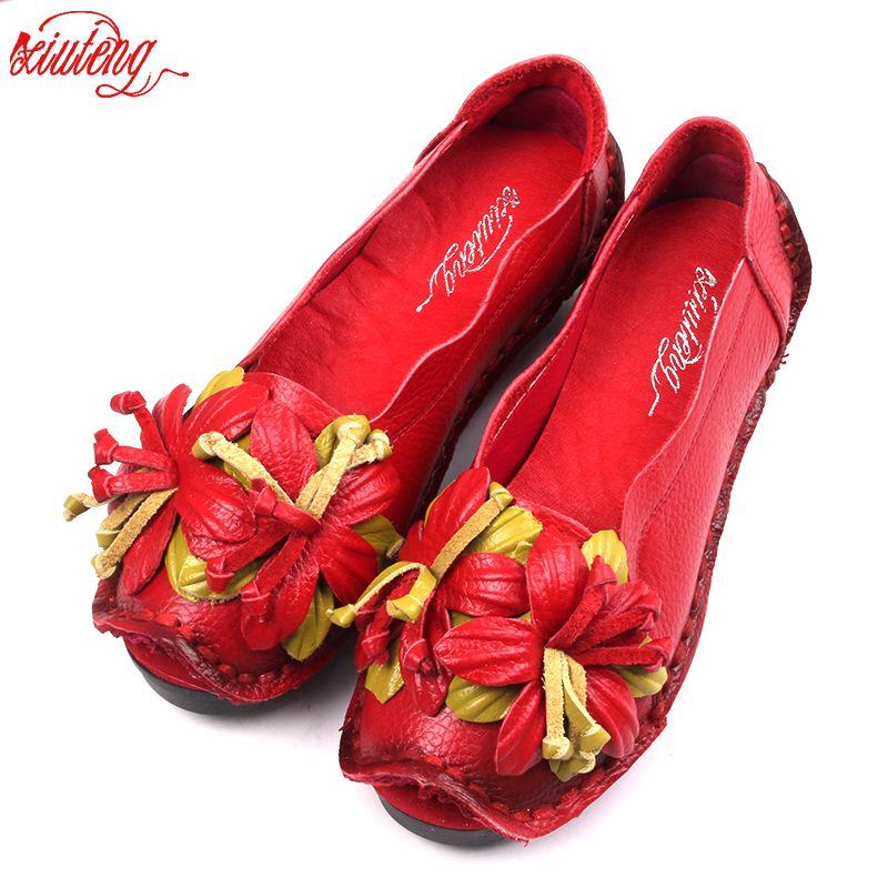 Xifairy g nouveau National vent fleurs à la main en cuir véritable chaussures femmes rétro doux fond plat chaussures d'été toile ballerines