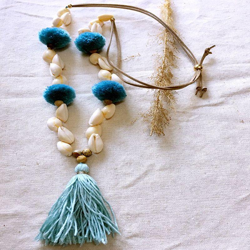 Dongmu bijoux nouveau 2018 colliers faits à la main longs glands pendentif coquille ms contracté style restauration antique meilleur cadeau