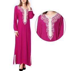 Mujeres Musulmanas de manga larga vestido hijab Maxi abaya jalabiya mujeres islámicas vestido kaftan marroquí moda embroidey1631