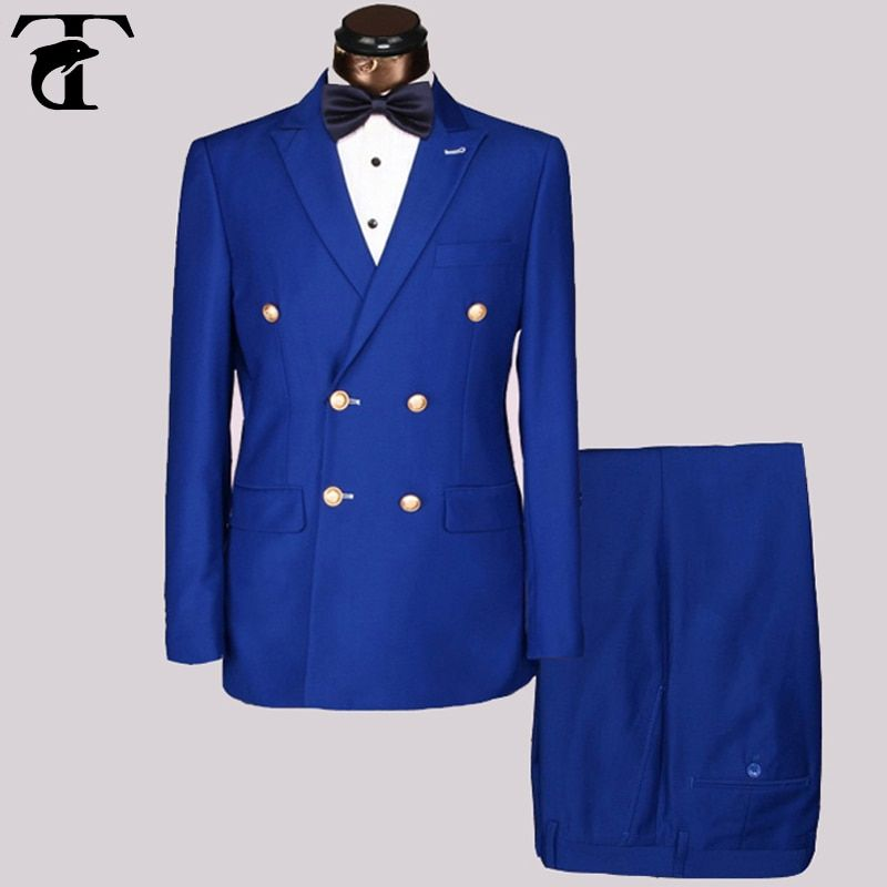 Gros Slim Fit Mens or métal boutons Costumes Hommes Double Breasted Azul Hombre Bleu Noir costume Point Revers Blazer Masculin