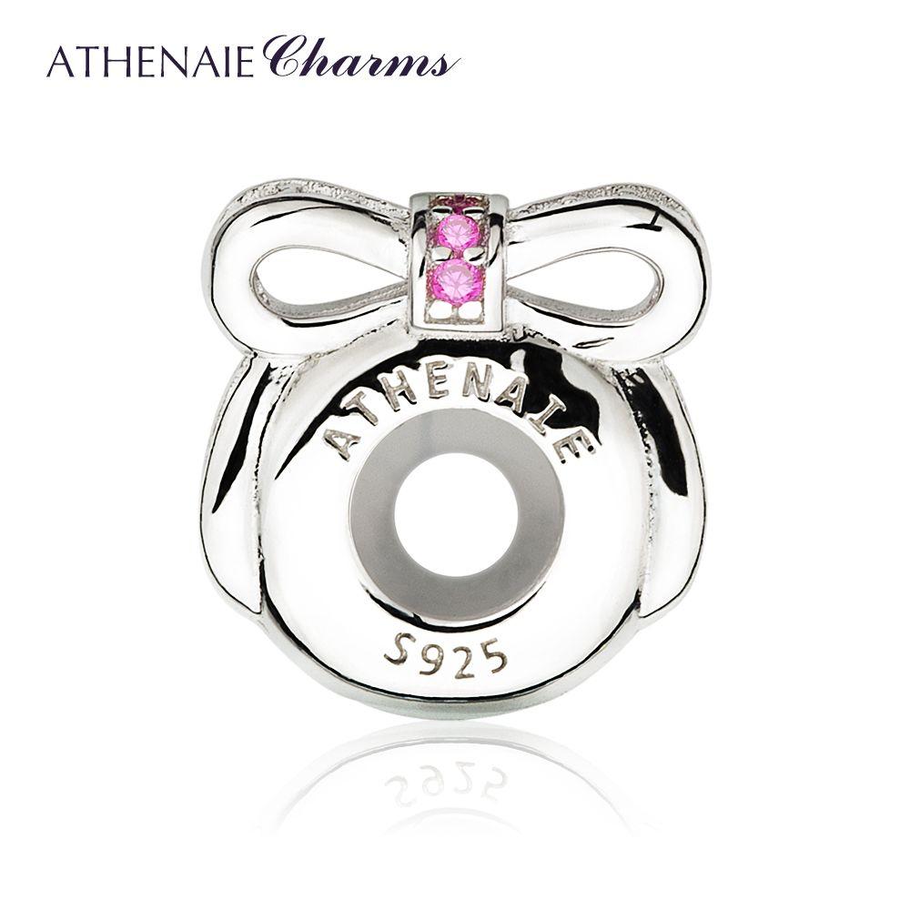 Athenaie 925 серебро резиновая Фиксаторы проложить роза красная cz изысканными сверкающими лук клип Spacer Бусины очарование