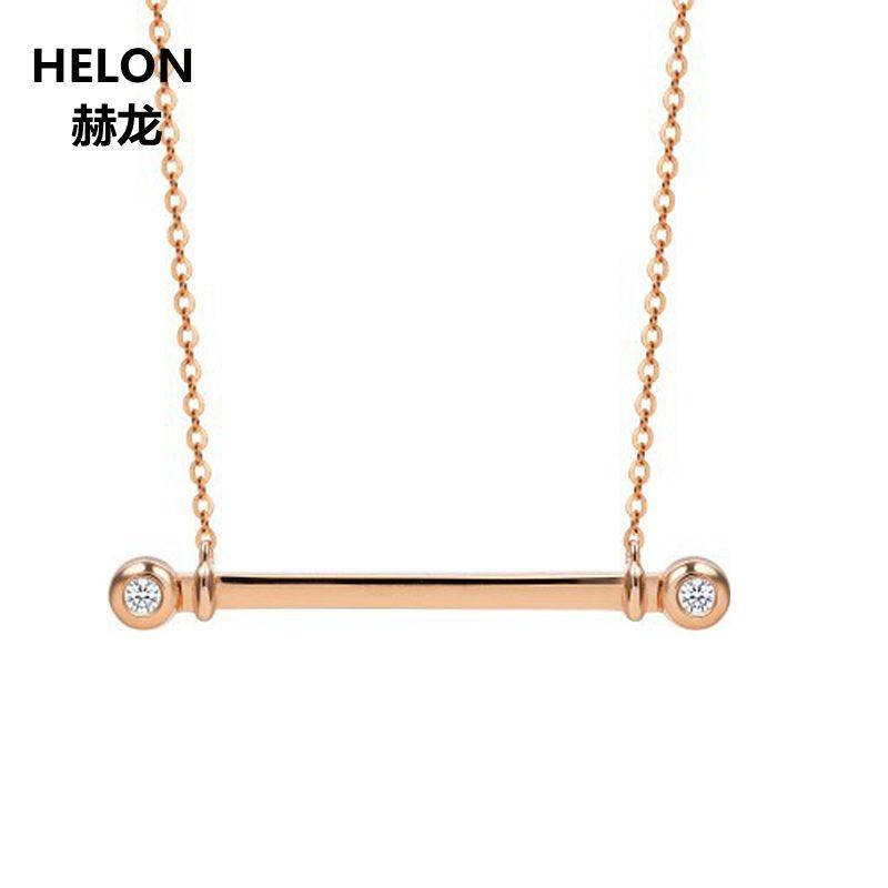Solide 18 k Rose Gold SI/H Natürliche Diamanten Anhänger Halskette Jahrestag Frauen Anhänger Liebhaber Edlen Schmuck Geschenk