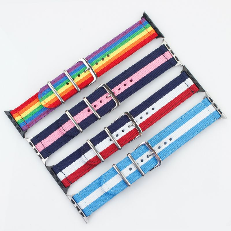 Pride rainbow nylon Watchband strap for apple smart watch canvas band for iwatch 4 3/2/1 38mm 40 42 44mm belt bracelet wristband