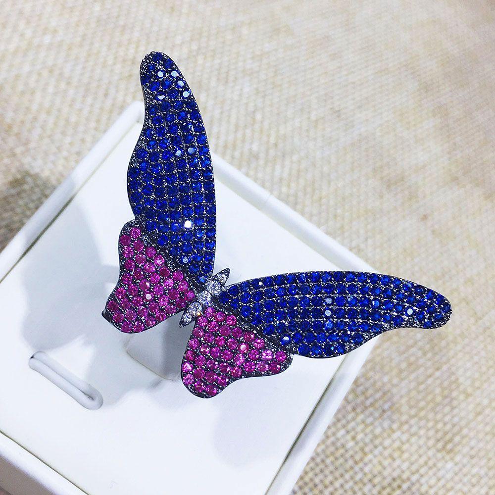 GODKI nouveauté mode luxe complet Mirco pavé cubique zircone bague de fiançailles papillon réglable
