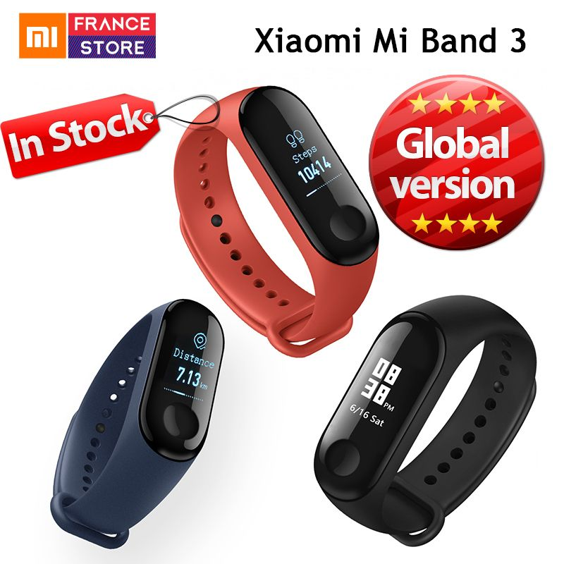 Global Version Xiaomi Mi Band 3 Smart Bracelet Miband 3 Caller ID 0.78 inch OLED Touch Screen Message Display Fitness Tracker