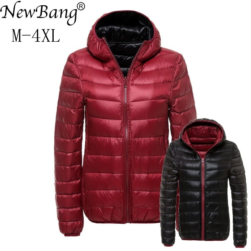 NewBang 4XL Down Coats Women Hooded Ultra Light Down Jacket With Carry Bag Travel Double Side <font><b>Reversible</b></font> Jackets Plus