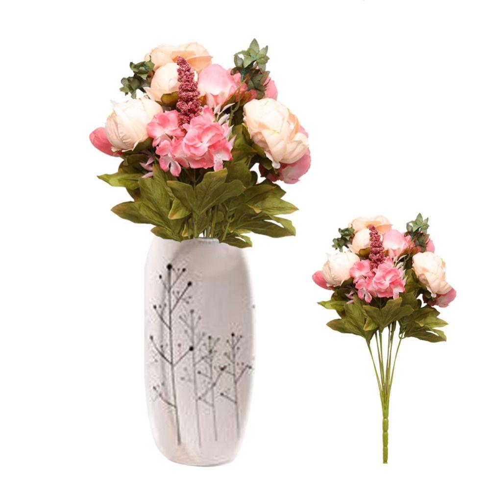 8 Jefes Artificial Flores de Peonía Ramo de Novia Flor Artificial Decorativa Del Partido Del Festival de Navidad de La Boda Home Tatuajes de La Flor