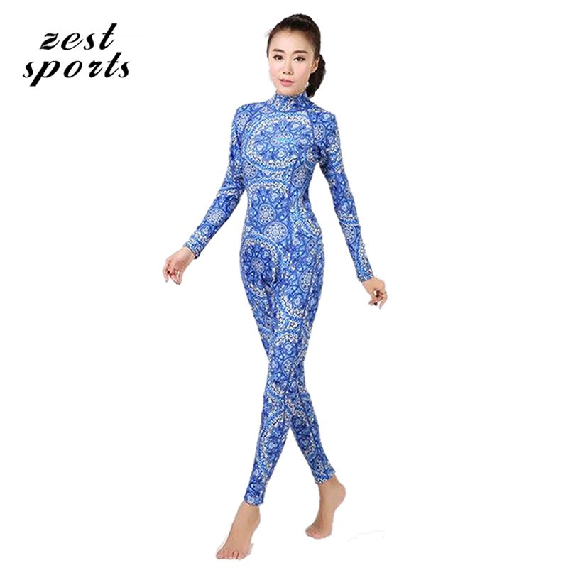 3mm women Neoprene diving suit wetsuit,Chinese style - blue and white porcelain long-sleeved Individuality surfing clothes,M003