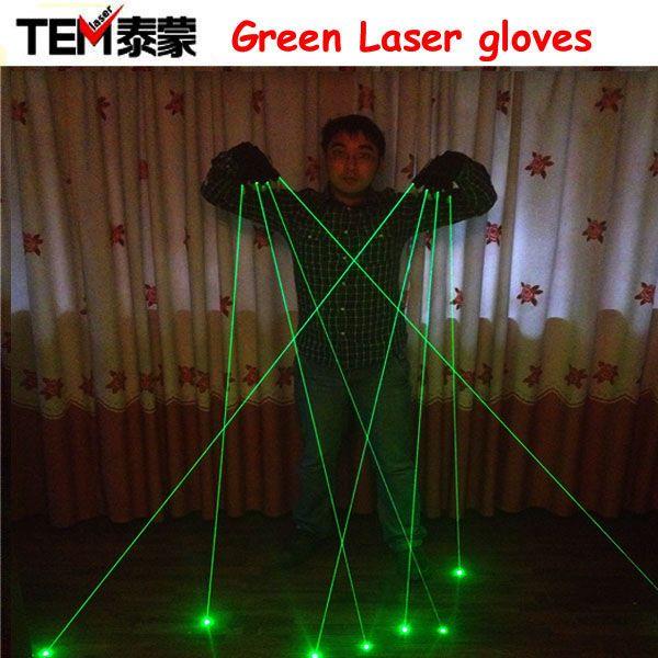 Livraison Gratuite Vert Gants de Laser Avec 4 pcs 532nm Laser, Gants de Scène LED Lumineux Gants Pour DJ Club/Parti Afficher