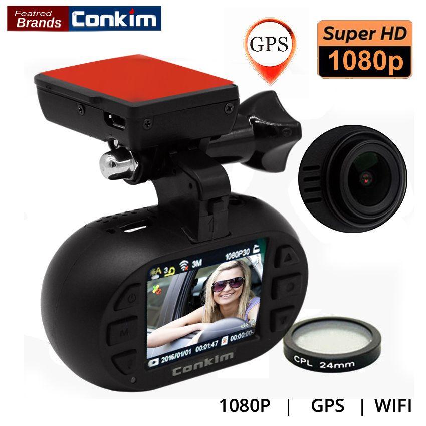 Conkim Car DVR With GPS Wifi Camera Auto Registrator 1080P Full HD WDR Parking Guard Dashcam Novatek 96655 w/ CPL Mini 0903 Nano