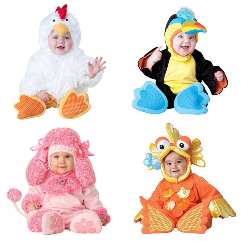 2017 Carnival Halloween Outfits Baby Boys Girls Costume Animal Cosplay Rompers Jumpsuit Toddlers Infant Clothes Bat/Elf/Puppy