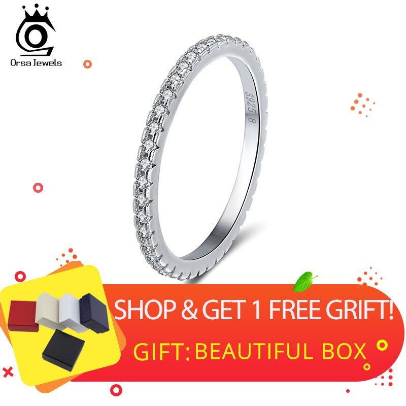 ORSA JEWELS 925 Sterling Silver Rings Women Classic Round Full Pave AAA Cubic Zircon Engagement Wedding Band Ring for Girls SR63