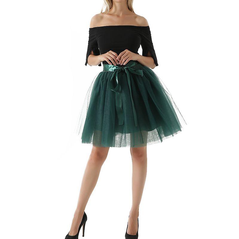 7 Layers Midi Tulle Skirt for Girls Fashion Tutu Skirts Women <font><b>Ball</b></font> Gown Party Petticoat Lolita faldas saia jupe