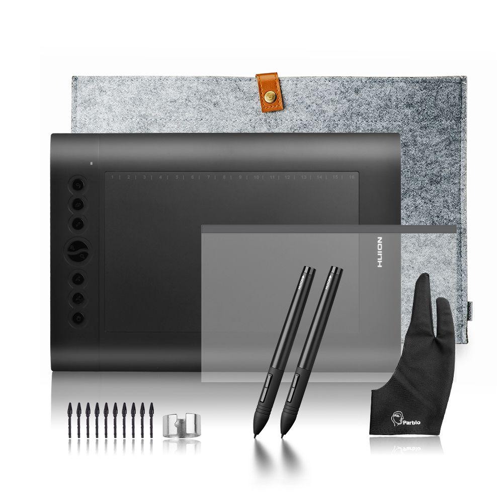2 Stifte Huion H610 Pro Kunst-grafikdiagramm-tablette Digitale Tablet Kit + Schutzfolie + 15-zoll Auskleidungssack + Parblo Handschuh 10 Extra schreibfedern