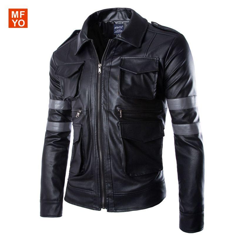 Hot Biohazard Game Resident Evil 6 Leon Jacket Gentlemen Motorcycle Outerwear Cavalier Men PU Leather Jacket Man Coat