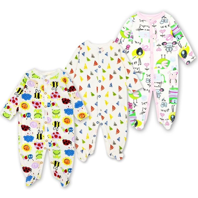 3 Pack Baby Clothes Newborn Toddler Infant Girls Boy Pajamas 0-12 Months Cute Cartoon Print Babies Romper