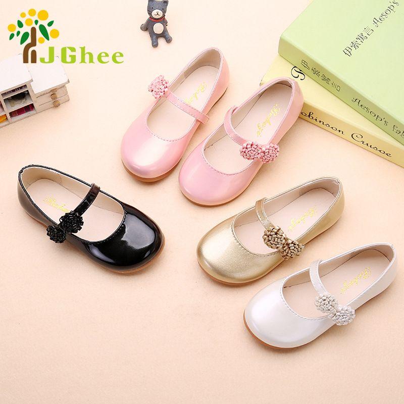 JGSHOWKITO Automne Filles Chaussures de Princesse Enfants Chaussures Plates En Cuir PU Enfants Chaussures Décontractées Avec Fleurs Fête Chaussures Pour Les Filles