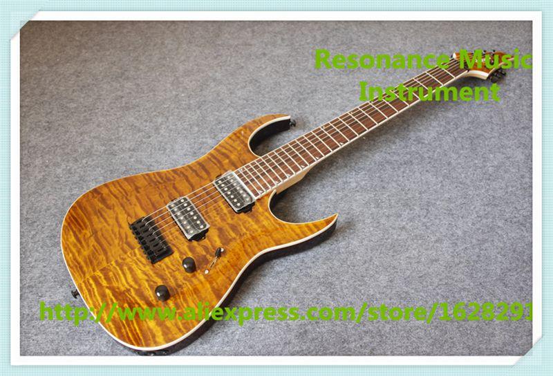 Лидер продаж 7 Строка коричневая стеганая отделка Джексон электрическая Гитары с черным аппаратными средствами для продажи