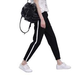 2018 Printemps Pantalons de Survêtement Femmes Casual Harem Pantalon Lâche Pantalon Pour Femmes Noir Rayé Côté Sueur Pantalon Femelle Plus La Taille M-XXL