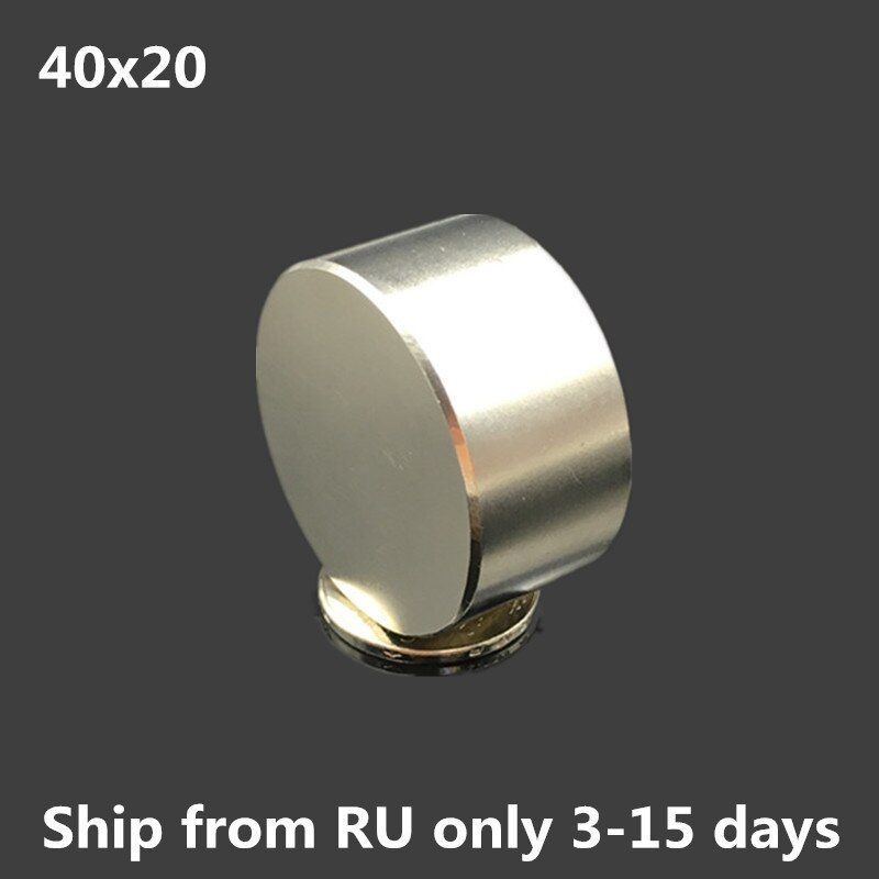 1pcs Neodymium magnet 40x20 mm gallium metal super strong round magnets 40*20  Neodimio magnet powerful permanent magnets 40x30