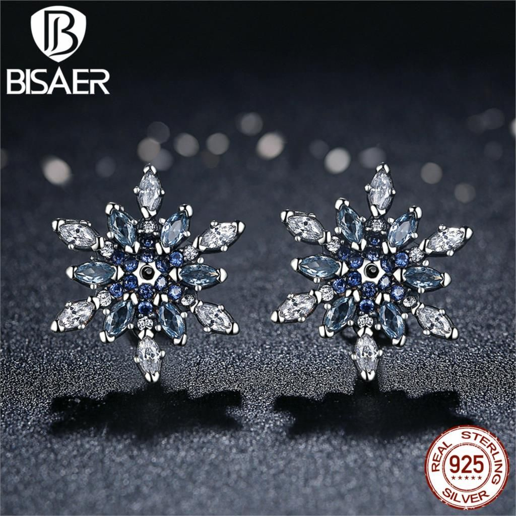 Bijoux 925 Sterling Silver Crystalized Snowflake, Blue Crystals Clear CZ Stud Earrings for Women Sterling Silver Jewelry brincos