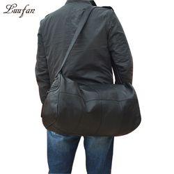 قدرة كبيرة حقائب سفر جلدية أصلية الرجال النساء لينة أسود جلد البقر عارضة السفر القماش الخشن عالية الجودة جلد البقر حقيبة كتف