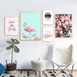 Affiches Et Gravures Flamingo Nordique Mur Photos Pour Salon Cuadros Toile Art Fleur Mur Art Peinture De Toile Sans Cadre